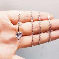 925 sterling silver Belly Button Ring Charming Heart shape Cubic Zircon Navel Chian Piercing Jewelry Dangle Waist Body Chain