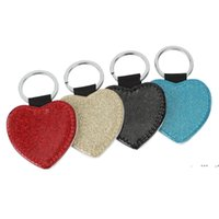 NEWParty Favor PU Leather Sublimation Sequin Keychain 5 Shapes DIY Glittery Keyring (back is white) Heart Shape Lover Gift Key Ring FWE9751