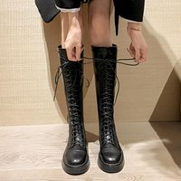 Boots Big Size Shoes Woman Autumn Flat Heel Round Toe Zipper Large Rubber Over-the-Knee Black Ladies Rock Med Solid Basic