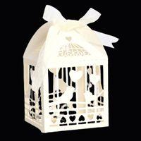 10 ADET Aşk Kalp Kuş Lazer Kesim Düğün Gelin Hediyeler Kutusu Ile Şekerli Şeker Kutuları Şerit Bebek Duş Düğün Parti Dekor