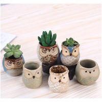 Nuova vaso di fiori a forma di gufo del fumetto per piante carnose succulente piante da fiori in ceramica piccola mini / giardino / off jllmwg xmh_home