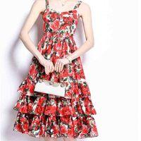 ZAWFL Designer Magazine Floral Ruffles Luxury Party Dinner Dresses Women Summer A Line Vestidos Elbise Frocks Lady 210525