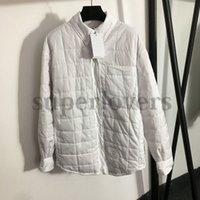 Long Sleeve Shirt Jacket Cotton Rhombus Stitching Strap Striped Coats Trendy White Jackets for Womne