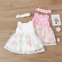 Baby Girls Flower Bordado Princesa Vestidos Verano 2021 Ropa para niños Boutique 0-18M Niños Niños Niños Sin mangas Cumpleaños Vestir