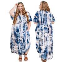 여름 여성 플러스 사이즈 드레스 2XL-6XL 패션 프린트 짧은 소매 분할 치마 유럽 및 미국 의류 도매