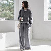 Kadın Eşofman 2 Parça Moda Kadın Setleri Sonbahar Kış Gevşek Rahat Kapüşonlu Hoodies Kazak Seti Kadın Kazak Pantolon WS242 Suits