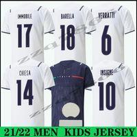 2021 Italie BASTONI INSIGNE SOCCER JERSEYS 21 22 Italie Verratti Jorginho Maillots Pied Immobile Belotti Berardi Chiesa Barella Italia Hommes Chemises de football enfants