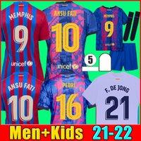 21 22 Camisa de futebol do FC Barcelona MEMPHIS BARCA MESSI KUN AGUERO 2021 2022 ANSU FATI GRIEZMANN F.DE JONG DEST camisa de futebol kit masculino + conjunto de meias infantil