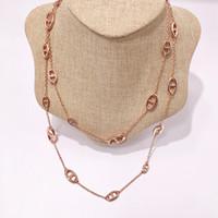 مصمم مجوهرات مطلية بالذهب النحاس مجوهرات منتجات جديدة الأزياء خنزير الأنف قلادة الفضة والذهب سترة طويلة سلسلة H قلادة الملحقات