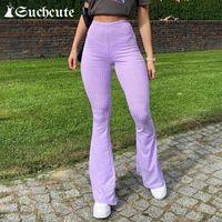 여성용 바지 카프리스 Slim Couple Women Slim 니트 2021 Y2K 높은 허리 플레어 바지 Streetwear 한국어 스타일 여성 조깅 90 년대 Outf