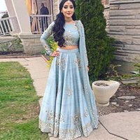 Light Blue Appliqued Two Piece Evening Dresses Party Formal Plus Size Prom Gowns Long