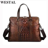 Briefcases WESTAL Genuiene Leather Crocodile Pattern Laptop Bag For Documents A4 Men's Briefcase Office Bags Men