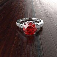 HBP 럭셔리 패션 간단한 더블 행 마이크로 상감 된 지르콘 기질 시뮬레이션 다이아몬드 4 발톱 제안 약혼 반지