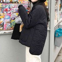 Downs Colorfaith 2021 Autumn Winter Women Jackets Quilted Puffer Parkas High-quality Warm Fashionable Irregular Short Coat Co2056