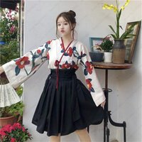 Ethnic Clothing Japanese Style Kimono Yukata Robes Girls Haori Obi Long Sleeve Party Dresses Women Samurai Tops Floral Printed Anime Skirt