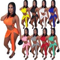 Summer Women Rib Vestidos Conjuntos de punto de noche Sexy Night Clue Wear Plus Tamaño 2x Top Top + Vendaje Mini Falda 2 pieza Set Solid Outfits 5386