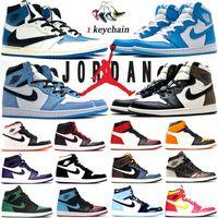 Nike Air Jordan 1 Retro Og Jumpman 1S Zapatos de baloncesto para hombre Travis Scott X Obsidian Obsidian OND Hyper Royal University Blue Lucky Green Twist Mujeres Zapatillas Entrenadores
