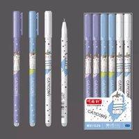 12pcs هلام القلم المسح قابل للمسح قابلة للغسل القلم الملء 0.5 ملليمتر الحبر الأزرق القط أسود هلام الأقلام اللوازم المدرسية