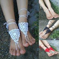 Crochet blanc sandales pieds nus sandales nues chaussures chaussures pieds bijoux plage portent des chaussures de yoga chaussures de mariée ankiène de mariée accessoires de plage de la plage blanche sandales de dentelle S-