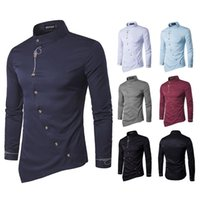 Men's Casual Shirts Oblique Placket For Men 2021 Stand-up Collar Slim Long Sleeve Shirt Vintage Embroidery Tops Formal Male Clothing