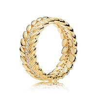 Luxus 18 Karat Gelbgold Körner der Energie Ring Original Box für Pandora 925 Sterling Silber Glanz Getreide Ring Frauen Hochzeitsgeschenk