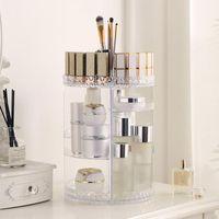Storage Boxes & Bins Rotating Makeup Organizer Acrylic Box Dresser Cosmetics Rack Skincare Beauty Products Holder Shelf Tools