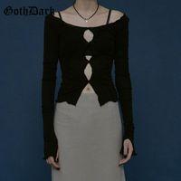 Goth Dark Mall Gothic Harajuku Y2k T-Shirts Punk EGirl Aesthetic Alternative Clothing Women Crop Tops Streetwear Long Sleeve Tee