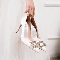 Dress Shoes Spring Square Buckle Rhinestone Pointed Shallow Mouth White Stiletto Silk Bridal Wedding Banquet Women's