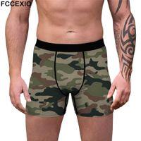 Calzoncillos fccexio hombres masculino camino impresión ropa interior boxeadores pantalones cortos de algodón bragas ny u convexo bolsa sexy