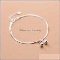 Charm Bracelets Jewelry925 Sterling Sier Korean Simple Style Cute Bell Double Chain Bracelet For Women Lady Daughter Jewelry Drop Delivery 2