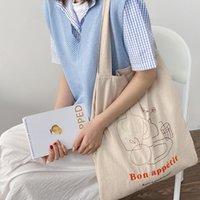 Evening Bags Cotton Linen Large Capacity Fashion Canvas Shoulder For Women 2021 Vintage Eco Friendly Shopping Bag Girls Tote Handbag