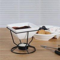 Ensemble de fondue en porcelaine blanche de four en céramique de fonte en céramique sertie de brûleur de chauffe-feu de fer noir et d'outils WMTQXE 2ZDET HWA5944
