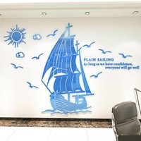 Wall Stickers Blue Boat Pattern 3D Sticker Living Room Decorative Decals Acrylic For Dinner Home Soild Wallpaper