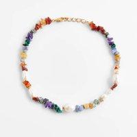 Za ожерелье бого бисером белый жемчуг натуральные многоцветные каменные ожерелья для женщин пляжный стиль дамы богемные украшенные подарки ювелирных изделий
