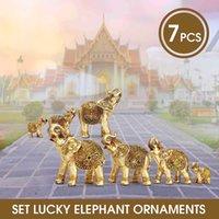 Mini set Feng Shui Elegante Elefante Tronco Estatua Lucky Wealth Figurine Artesanía Adornos Regalo para la oficina de oficina Decoración de escritorio Q0525