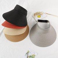 Wide Brim Hats Brand Spring Summer Visors Cap Foldable Large Sun Hat Beach For Women Straw Wholesale Chapeau