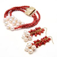 GuaiGuai Jewelry 3 Rows 4mm Red Coral Cultured White Pearl Lariat Long Sweater Chain Bracelet Earrings Sets For Women