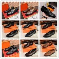 A1 iduzi 16 Model High quality designer mens dress shoes leather Metal snap Peas wedding Shoe Fashion Flats driving sneakers Size 6.5-11