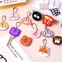 2021 new cute cartoon keychain silicone cat and dog protection key cover control dust cap bracket gift lady