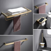 Conjunto acessório de banho escovado acessórios de banheiro 304 toalha de aço inoxidável / de papel pincel de vaso sanitário / titular do copo sabonete prato hardware