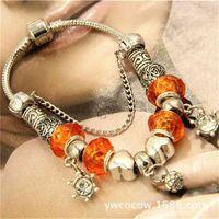 Best Selling Panjia Beaded Chay Crystal Bracelet Jóias incrustadas com diamante Colorido Pearl Lotus Tibetan Silv