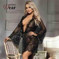 Сказание с длинным рукавом невеста шелковый халат набор женщин плюс размер ночной рубашек для полного сексуального халата халат невеста Lenceria Eroticos Mujer 210901
