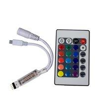 Controllers Mini RGB LED-styrenhet 4 PIN 24 Knappar DC 5V 12V Dimmer IR Trådlös 4PIN Fjärrkontroll för SMD 2835 Tape Strip Lights