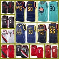 Damian 0 Lillard Stephen 30 Curry Basketball BlazersEstado dourado de jerseys.GuerreirosNovo James 33 Wiseman Carmelo 00 Anthony