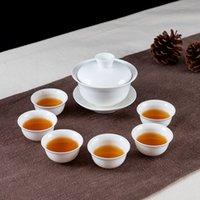 2021 Juego completo de juego de té de Chaoshan Kung Fu, casa moderna simple de porcelana blanca pura, taza de techo de tetera