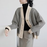 Women's Knits & Tees [EWQ] Neck Single Breasted V Women Cardigan Tide Autumn Vintage Striped Lazy Loose Knit Jacket Fashion Outer Sweater