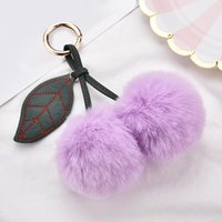 Keychains Cherry Keychain Fo Women Soft Fur Ball Fruit Key Holder Female Cute Lovely Plush Ring Ladies Bag Pendant Jewelry Accessories