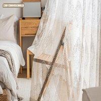 Rideau rideaux rideaux nordiques pour salon salle à manger Chambre à coucher Fenêtre pastorale Tulle Translucidus (Niveau d'ombrage 1% à 40%) Français