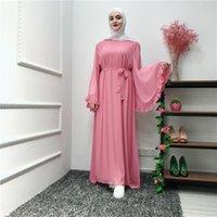 Ethnic Clothing Women Ruffles Maxi Dress Loose Long Flare Sleeves O Neck Muslim Abaya Braid Trim Dubai Turkey Moroccan Malay Gowns Party Caf