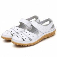 Swonco Weibliche Sommerschuhe Flache Pu-Leder Sandalen 2020 Neue Frauen Sandalen Schuhe Sommer Beiläufige Wohnungen Gummi-Bodensandale S44N #